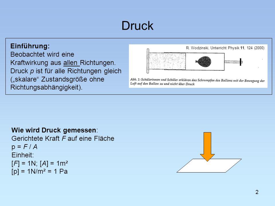 Druck 2 Wie wird Druck gemessen: Gerichtete Kraft F auf eine Fläche p = F / A Einheit: [F] = 1N; [A] = 1m² [p] = 1N/m² = 1 Pa R.