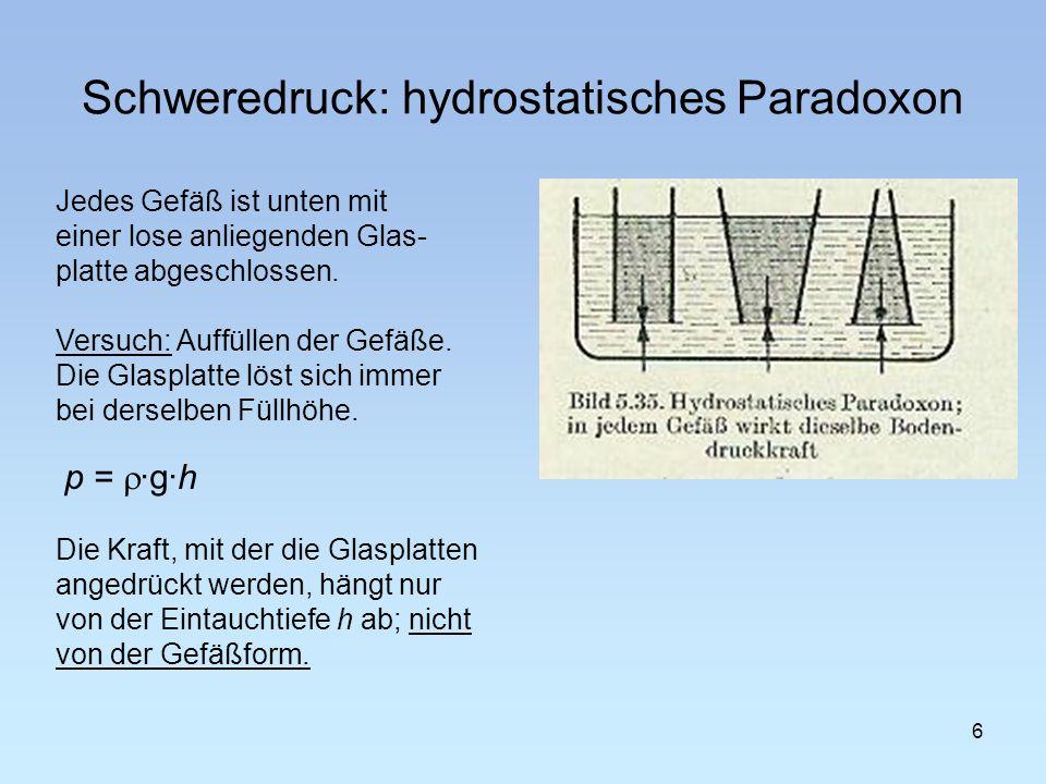 Schweredruck: 7 verbundene Gefäße Schlauchwaage Flüssigkeitsanzeige Geruchsverschluß (Syphon) im Wasch-/Spülbecken Wasserturm Artesischer Brunnen Pascalscher Faßversuch p = ·g·h