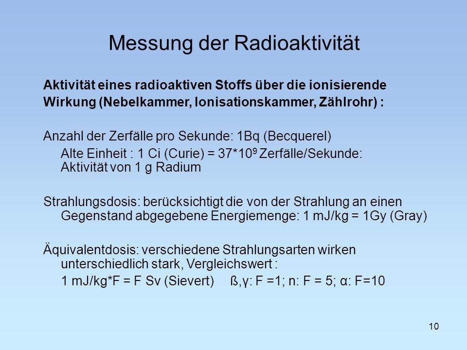 Messung der Radioaktivität 10 Aktivität eines radioaktiven Stoffs über die ionisierende Wirkung (Nebelkammer, Ionisationskammer, Zählrohr) : Anzahl de