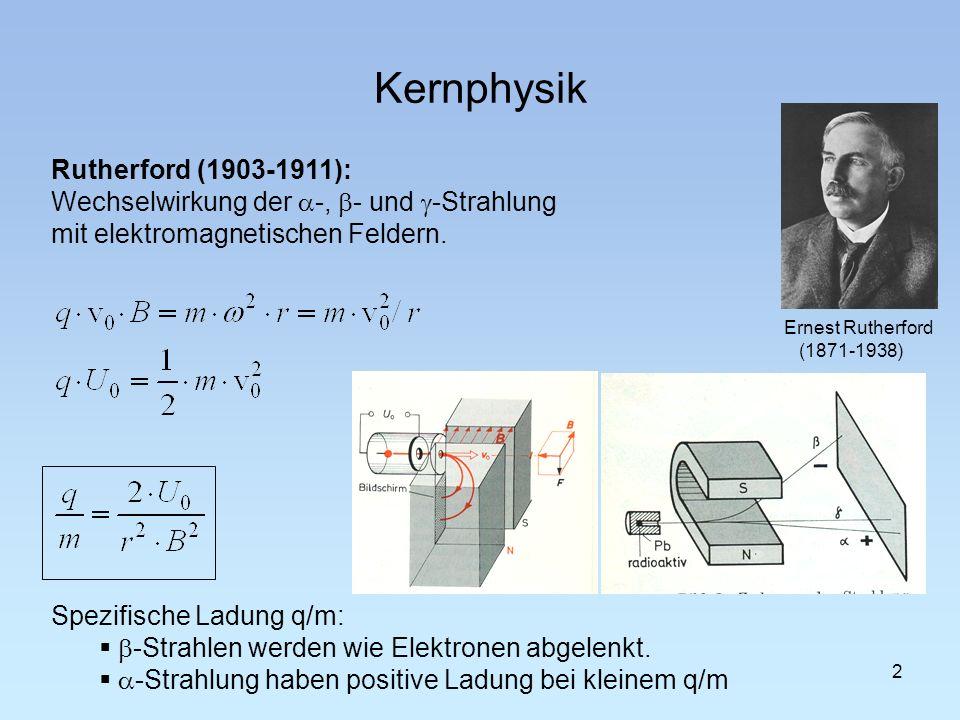 Spezifische Ladung q/m: -Strahlen werden wie Elektronen abgelenkt. -Strahlung haben positive Ladung bei kleinem q/m Ernest Rutherford (1871-1938) Kern