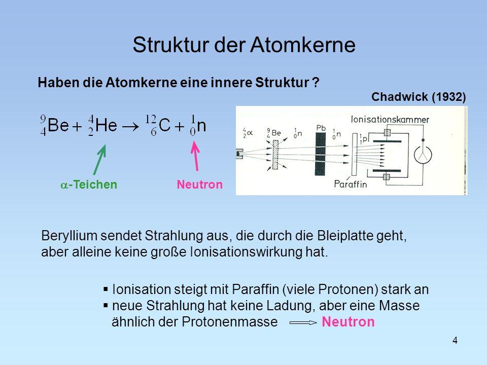 Struktur der Atomkerne 4 Haben die Atomkerne eine innere Struktur ? Neutron -Teichen Chadwick (1932) Beryllium sendet Strahlung aus, die durch die Ble