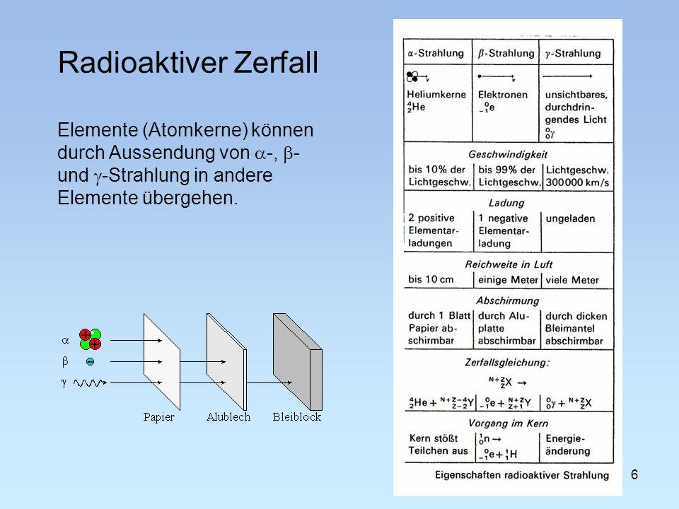 Radioaktiver Zerfall 6 Elemente (Atomkerne) können durch Aussendung von -, - und -Strahlung in andere Elemente übergehen.