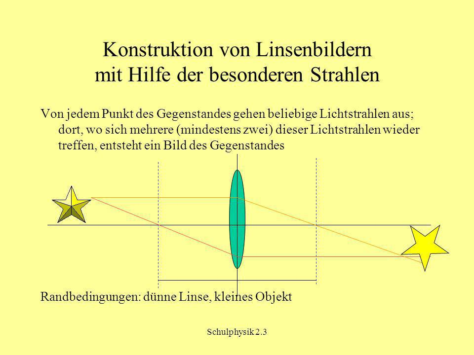 Schulphysik 2.3 Konstruktion von Linsenbildern mit Hilfe der besonderen Strahlen Von jedem Punkt des Gegenstandes gehen beliebige Lichtstrahlen aus; dort, wo sich mehrere (mindestens zwei) dieser Lichtstrahlen wieder treffen, entsteht ein Bild des Gegenstandes Randbedingungen: dünne Linse, kleines Objekt