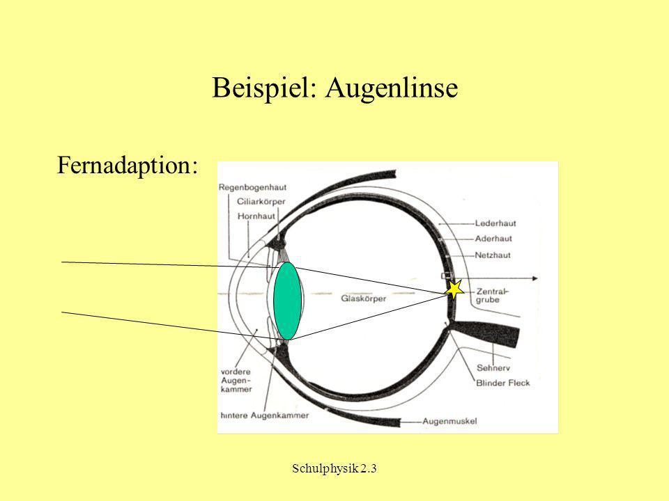 Schulphysik 2.3 Beispiel: Augenlinse Fernadaption:
