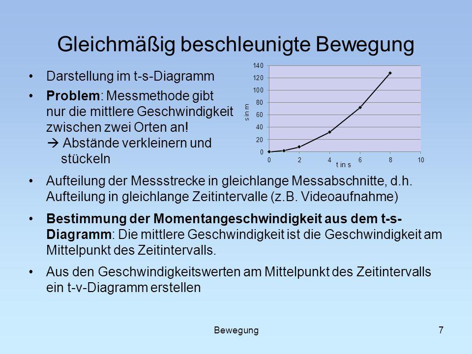 7 Gleichmäßig beschleunigte Bewegung Darstellung im t-s-Diagramm Problem: Messmethode gibt nur die mittlere Geschwindigkeit zwischen zwei Orten an! Ab