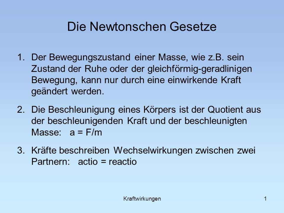 1 Die Newtonschen Gesetze 1.Der Bewegungszustand einer Masse, wie z.B.