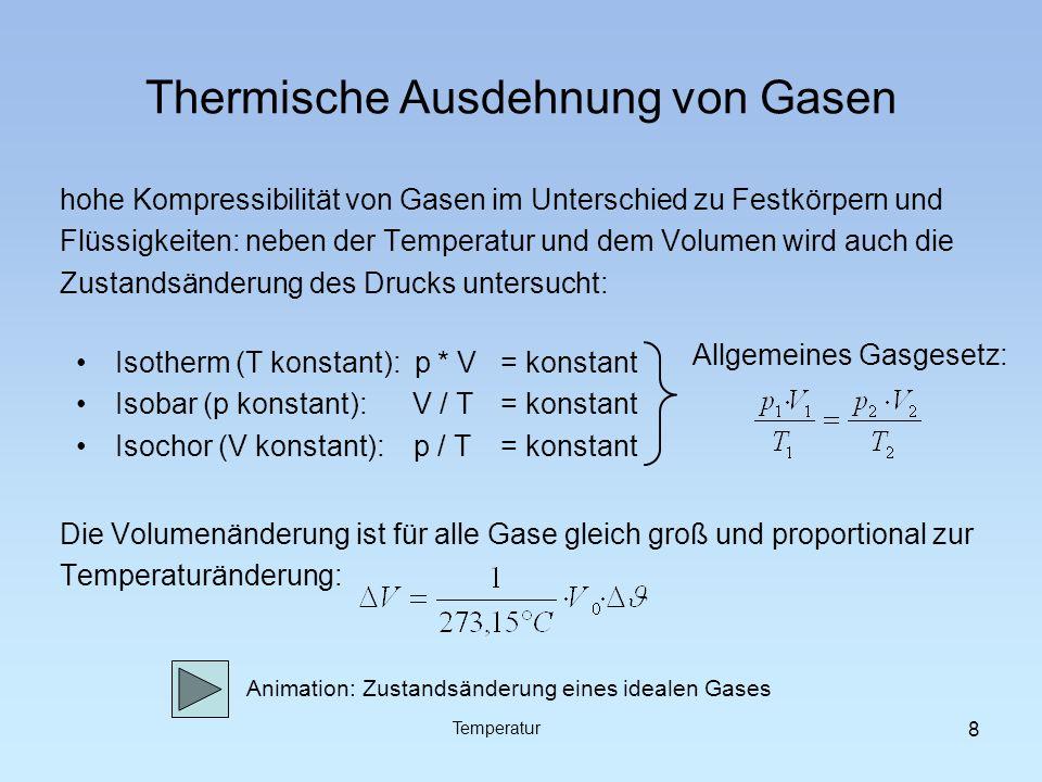 Absolute Temperatur Extrapoliert man die Volumenausdehnungskurven verschiedener Gase zu immer kleineren Volumina, so stellt man fest, dass sie sich alle in einem Punkt auf der Abszisse treffen: -273,15°C Temperatur 9