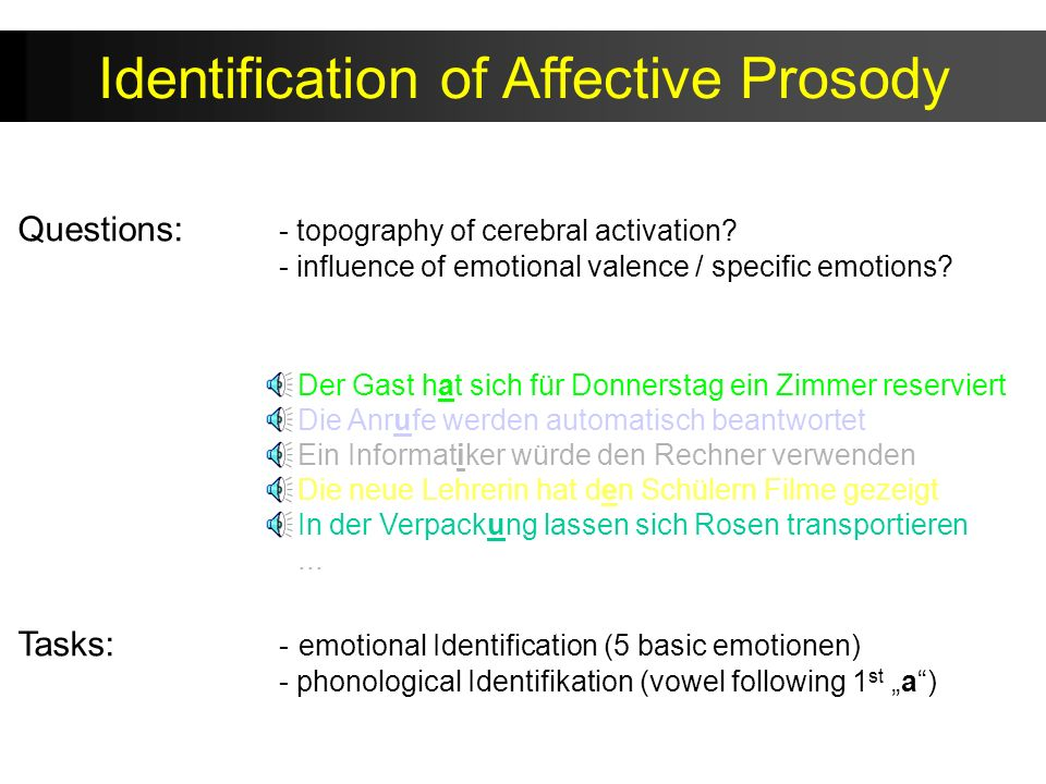 Identification of Affective Prosody Tasks: - emotional Identification (5 basic emotionen) - phonological Identifikation (vowel following 1 st a) Der G