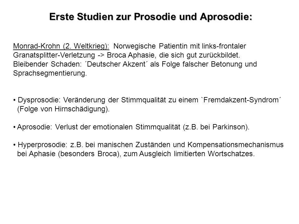 Erste Studien zur Prosodie und Aprosodie: Monrad-Krohn (2. Weltkrieg): Norwegische Patientin mit links-frontaler Granatsplitter-Verletzung -> Broca Ap
