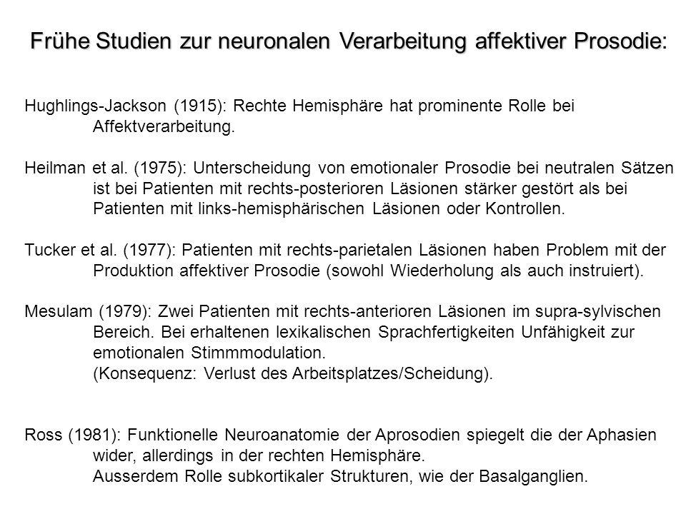Frühe Studien zur neuronalen Verarbeitung affektiver Prosodie Frühe Studien zur neuronalen Verarbeitung affektiver Prosodie: Hughlings-Jackson (1915):