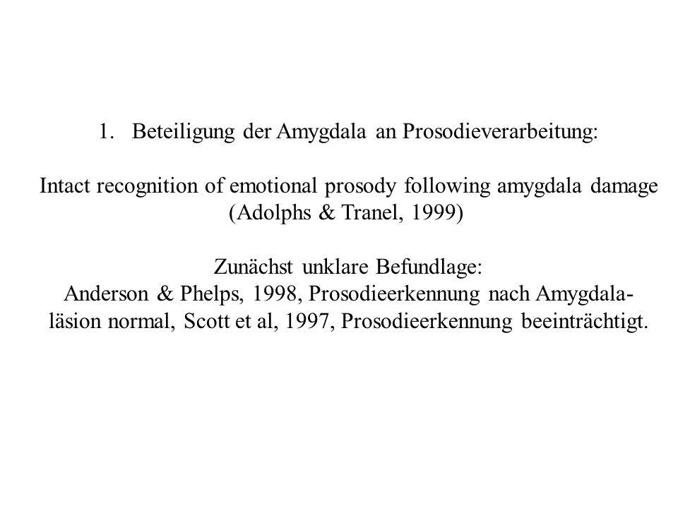 Untersuchung von SM046 (die Amygdalapatientin, selektiv bilateral), RH1951 (nicht ganz selektiv bilateral), 7 weiteren Patienten mit Amygdalaläsionen, 15 weiteren neurologisch geschädigten Patienten und 14 Kontrollen.