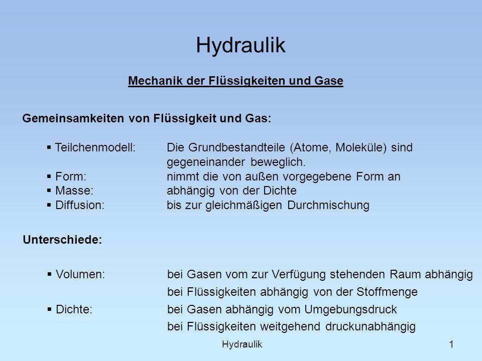 Hydraulik 1 Mechanik der Flüssigkeiten und Gase Gemeinsamkeiten von Flüssigkeit und Gas: Teilchenmodell: Die Grundbestandteile (Atome, Moleküle) sind