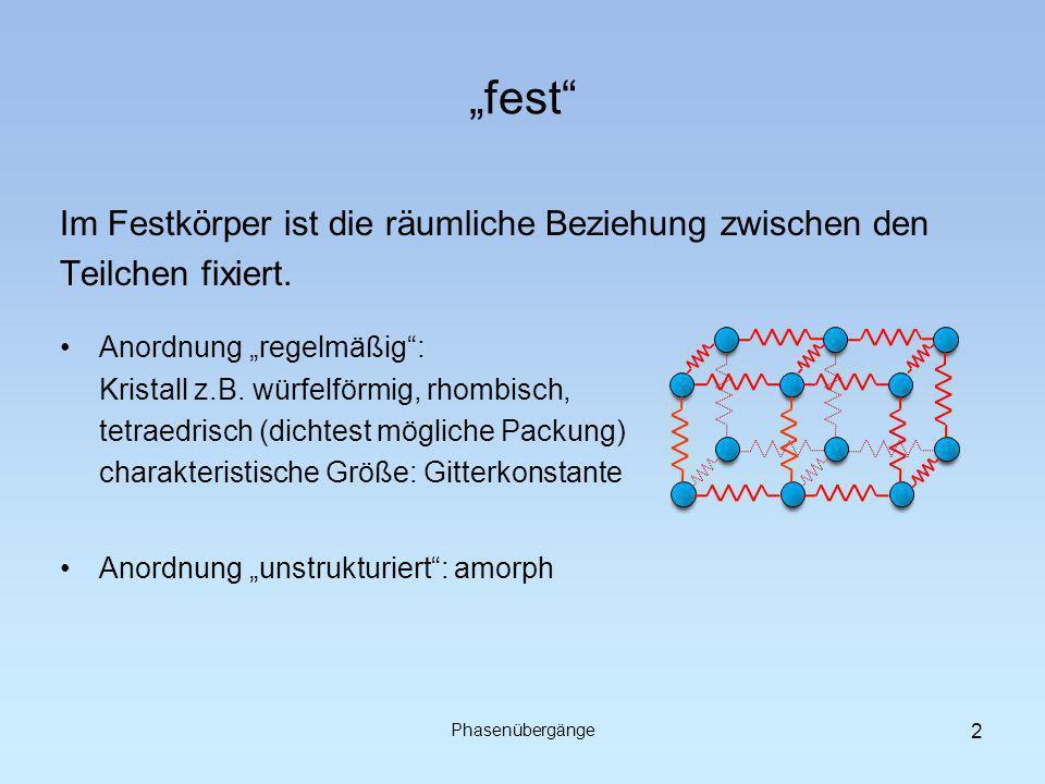 fest Im Festkörper ist die räumliche Beziehung zwischen den Teilchen fixiert. Phasenübergänge Anordnung regelmäßig: Kristall z.B. würfelförmig, rhombi