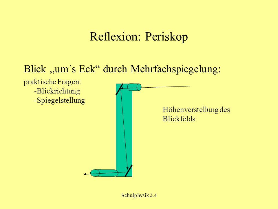 Schulphysik 2.4 Reflexion: Periskop Blick um´s Eck durch Mehrfachspiegelung: praktische Fragen: -Blickrichtung -Spiegelstellung Höhenverstellung des B