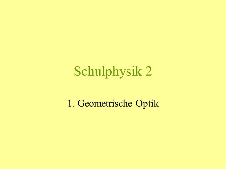 Schulphysik 2.1 Grundgesetze der geometrischen Optik Geometrische Optik: Lichteigenschaften, die sich geometrisch darstellen lassen: 1.