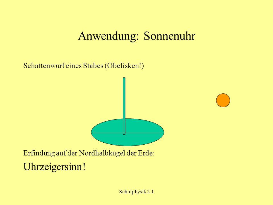 Schulphysik 2.1 Anwendung: Sonnenuhr Schattenwurf eines Stabes (Obelisken!) Erfindung auf der Nordhalbkugel der Erde: Uhrzeigersinn!