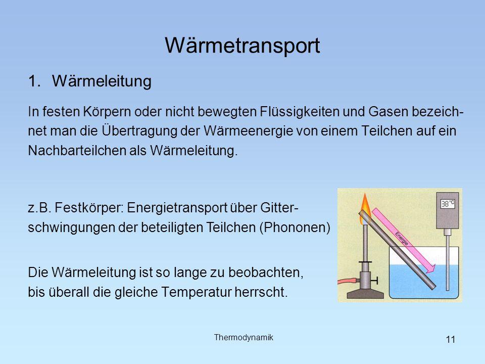 Wärmetransport 2.Wärmeströmung (Konvektion) Wird einem flüssigen oder gasförmigen Körper Wärme zugeführt, steigt die Temperatur und die Teilchen bewegen sich schneller (kinetisches Wärmemodell).