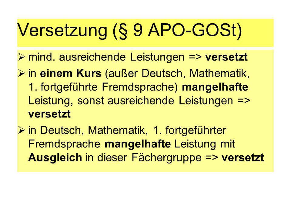 Versetzung (§ 9 APO-GOSt) mind. ausreichende Leistungen => versetzt in einem Kurs (außer Deutsch, Mathematik, 1. fortgeführte Fremdsprache) mangelhaft