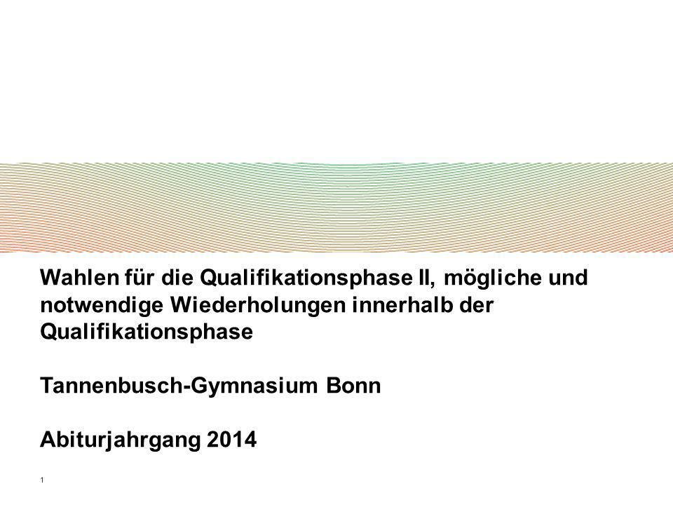 1 Wahlen für die Qualifikationsphase II, mögliche und notwendige Wiederholungen innerhalb der Qualifikationsphase Tannenbusch-Gymnasium Bonn Abiturjah