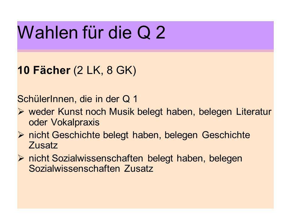 Wahlen für die Q 2 10 Fächer (2 LK, 8 GK) SchülerInnen, die in der Q 1 weder Kunst noch Musik belegt haben, belegen Literatur oder Vokalpraxis nicht G