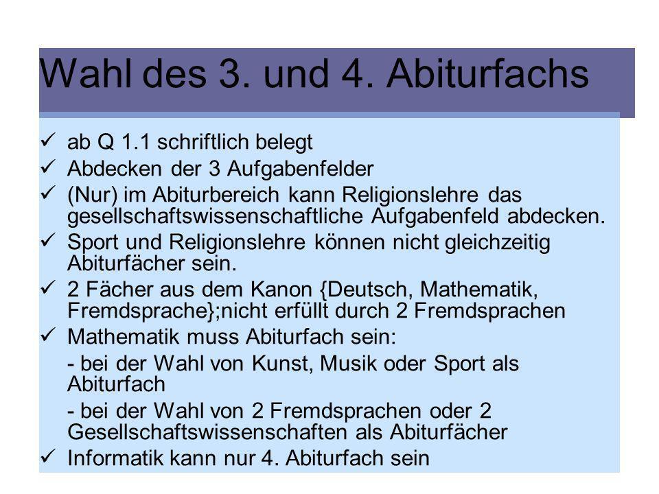 Klausurverpflichtung in Q 2.1: Deutsch eine Fremdsprache Mathematik eine Gesellschaftswissenschaft das Schwerpunktfach (Naturwissenschaft oder 2.
