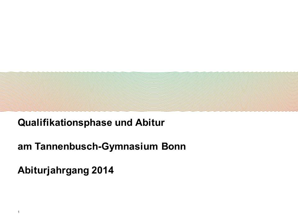 1 Qualifikationsphase und Abitur am Tannenbusch-Gymnasium Bonn Abiturjahrgang 2014