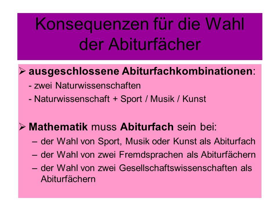 Konsequenzen für die Wahl der Abiturfächer ausgeschlossene Abiturfachkombinationen: - zwei Naturwissenschaften - Naturwissenschaft + Sport / Musik / K
