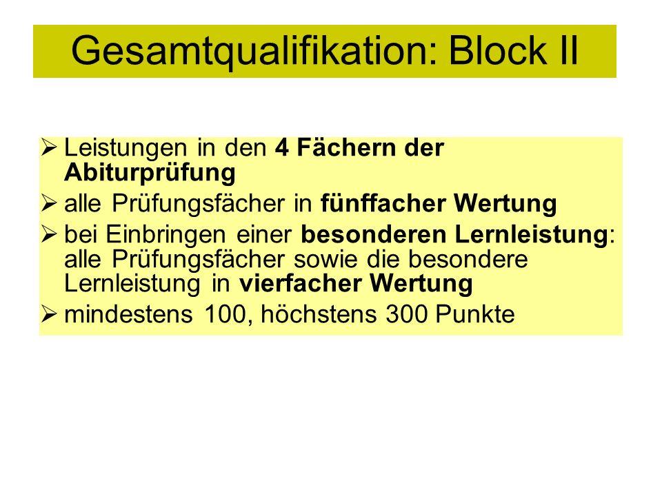Gesamtqualifikation: Block II Leistungen in den 4 Fächern der Abiturprüfung alle Prüfungsfächer in fünffacher Wertung bei Einbringen einer besonderen