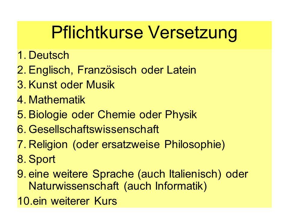 Pflichtkurse Versetzung 1.Deutsch 2.Englisch, Französisch oder Latein 3.Kunst oder Musik 4.Mathematik 5.Biologie oder Chemie oder Physik 6.Gesellschaf
