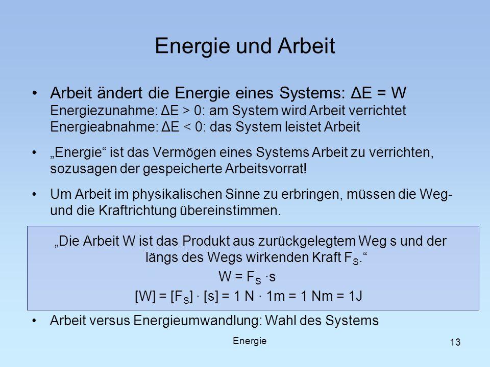 13 Energie und Arbeit Arbeit ändert die Energie eines Systems: ΔE = W Energiezunahme: ΔE > 0: am System wird Arbeit verrichtet Energieabnahme: ΔE < 0: