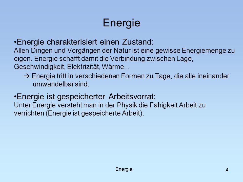 Energie charakterisiert einen Zustand: Allen Dingen und Vorgängen der Natur ist eine gewisse Energiemenge zu eigen. Energie schafft damit die Verbindu