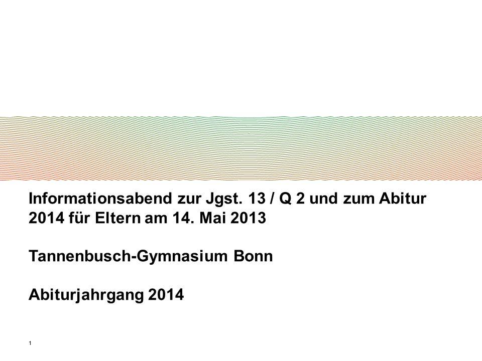 11 Informationsabend zur Jgst. 13 / Q 2 und zum Abitur 2014 für Eltern am 14. Mai 2013 Tannenbusch-Gymnasium Bonn Abiturjahrgang 2014