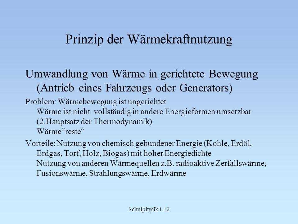 Schulphysik 1.12 Prinzip der Wärmekraftnutzung Umwandlung von Wärme in gerichtete Bewegung (Antrieb eines Fahrzeugs oder Generators) Problem: Wärmebew