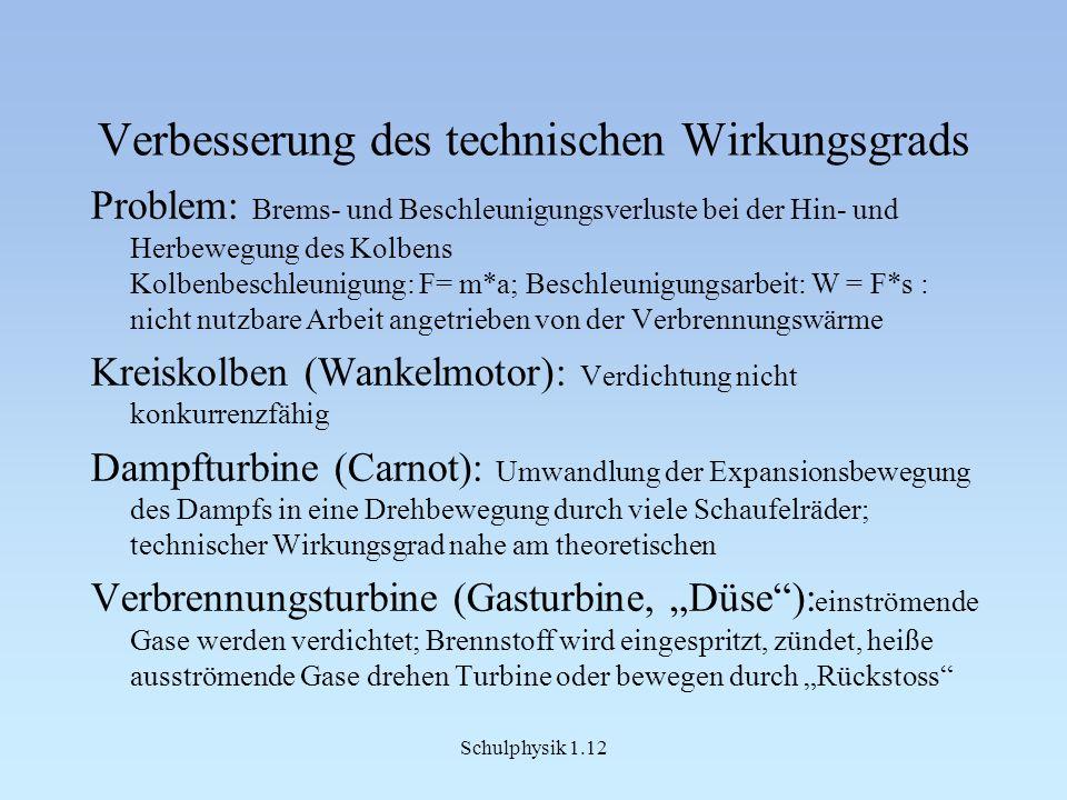 Schulphysik 1.12 Verbesserung des technischen Wirkungsgrads Problem: Brems- und Beschleunigungsverluste bei der Hin- und Herbewegung des Kolbens Kolbenbeschleunigung: F= m*a; Beschleunigungsarbeit: W = F*s : nicht nutzbare Arbeit angetrieben von der Verbrennungswärme Kreiskolben (Wankelmotor): Verdichtung nicht konkurrenzfähig Dampfturbine (Carnot): Umwandlung der Expansionsbewegung des Dampfs in eine Drehbewegung durch viele Schaufelräder; technischer Wirkungsgrad nahe am theoretischen Verbrennungsturbine (Gasturbine, Düse): einströmende Gase werden verdichtet; Brennstoff wird eingespritzt, zündet, heiße ausströmende Gase drehen Turbine oder bewegen durch Rückstoss