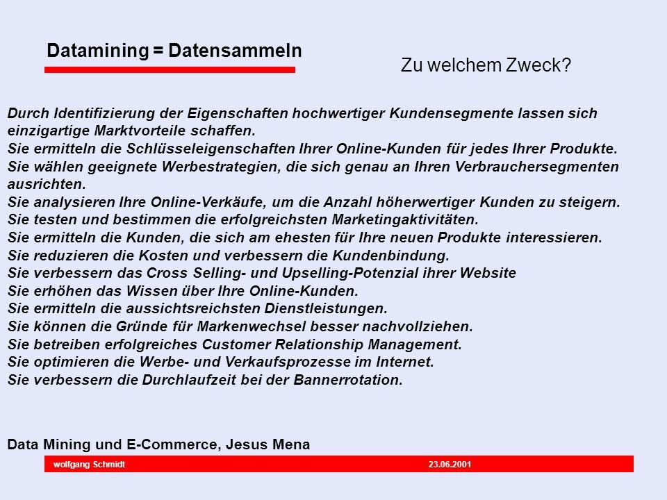 wolfgang Schmidt 23.06.2001 Datamining = Datensammeln Durch Identifizierung der Eigenschaften hochwertiger Kundensegmente lassen sich einzigartige Marktvorteile schaffen.