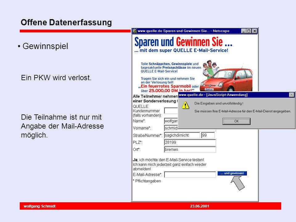 wolfgang Schmidt 23.06.2001 Offene Datenerfassung Hinweis auf Datenschutz Einverständniserklärung ist deaktiviert viele Pflichtangaben Unterhaltungsangebote