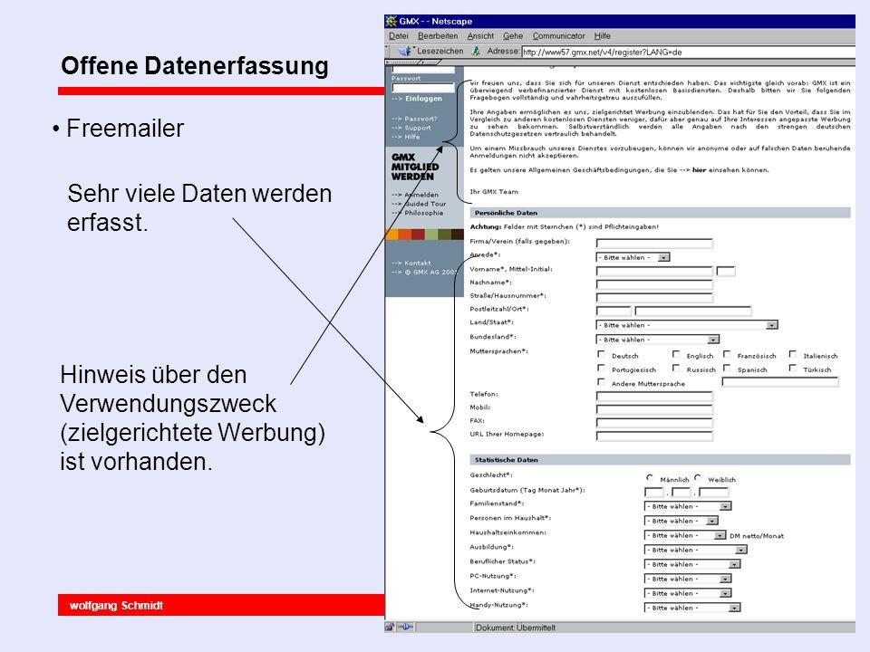 wolfgang Schmidt 23.06.2001 Verdeckte Datenerfassung Webserver Protokolldateien 127.0.0.1 - - [22/Jun/2001:15:45:07 +0200] GET /kaufhaus HTTP/1.0 301 302 127.0.0.1 - - [22/Jun/2001:15:45:39 +0200] GET /kaufhaus/kaufhaus.htm HTTP/1.0 200 493 127.0.0.1 - - [22/Jun/2001:15:45:41 +0200] GET /kaufhaus/dob.htm HTTP/1.0 200 320 127.0.0.1 - - [22/Jun/2001:15:45:43 +0200] GET /kaufhaus/hob.htm HTTP/1.0 200 299 127.0.0.1 - - [22/Jun/2001:15:45:44 +0200] GET /kaufhaus/sport.htm HTTP/1.0 200 290 127.0.0.1 - - [22/Jun/2001:15:45:46 +0200] GET /kaufhaus/garten.htm HTTP/1.0 200 291 127.0.0.1 - - [22/Jun/2001:15:47:58 +0200] GET /kaufhaus/garten.htm HTTP/1.0 304 - 127.0.0.1 - - [22/Jun/2001:15:48:00 +0200] GET /kaufhaus/garten.htm HTTP/1.0 304 - 127.0.0.1 - - [22/Jun/2001:15:48:01 +0200] GET /kaufhaus/garten.htm HTTP/1.0 304 - 127.0.0.1 - - [22/Jun/2001:15:48:07 +0200] GET /kaufhaus/hob.htm HTTP/1.0 304 - 127.0.0.1 - - [22/Jun/2001:15:48:32 +0200] GET /kaufhaus/garten.htm HTTP/1.0 304 - 127.0.0.1 - - [22/Jun/2001:15:48:35 +0200] GET /kaufhaus/dob.htm HTTP/1.0 304 - 127.0.0.1 - - [22/Jun/2001:15:49:01 +0200] GET /kaufhaus/garten.htm HTTP/1.0 304 - 127.0.0.1 - - [22/Jun/2001:15:49:05 +0200] GET /kaufhaus/hob.htm HTTP/1.0 304 - 127.0.0.1 - - [22/Jun/2001:15:49:10 +0200] GET /kaufhaus/sport.htm HTTP/1.0 304 - 127.0.0.1 - - [22/Jun/2001:15:50:45 +0200] GET /kaufhaus/kaufhaus.htm HTTP/1.0 200 493 127.0.0.1 - - [22/Jun/2001:15:50:50 +0200] GET /kaufhaus/dob.htm HTTP/1.0 200 320 127.0.0.1 - - [22/Jun/2001:15:50:54 +0200] GET /kaufhaus/garten.htm HTTP/1.0 200 291 Ausschnitt aus dem Logfile des Apache Webservers.