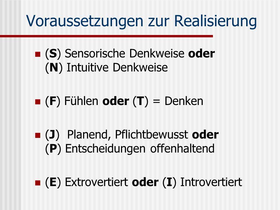 Voraussetzungen zur Realisierung (S) Sensorische Denkweise oder (N) Intuitive Denkweise (F) Fühlen oder (T) = Denken (J) Planend, Pflichtbewusst oder