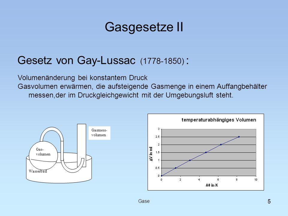Gasgesetze II Gesetz von Gay-Lussac (1778-1850) : Gase Volumenänderung bei konstantem Druck Gasvolumen erwärmen, die aufsteigende Gasmenge in einem Au