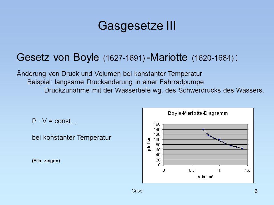 Gasgesetze III Gesetz von Boyle (1627-1691) -Mariotte (1620-1684) : Gase Änderung von Druck und Volumen bei konstanter Temperatur Beispiel: langsame D