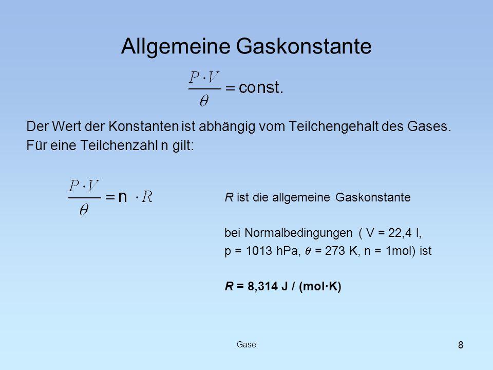 Der Wert der Konstanten ist abhängig vom Teilchengehalt des Gases. Für eine Teilchenzahl n gilt: Allgemeine Gaskonstante Gase 8 R ist die allgemeine G