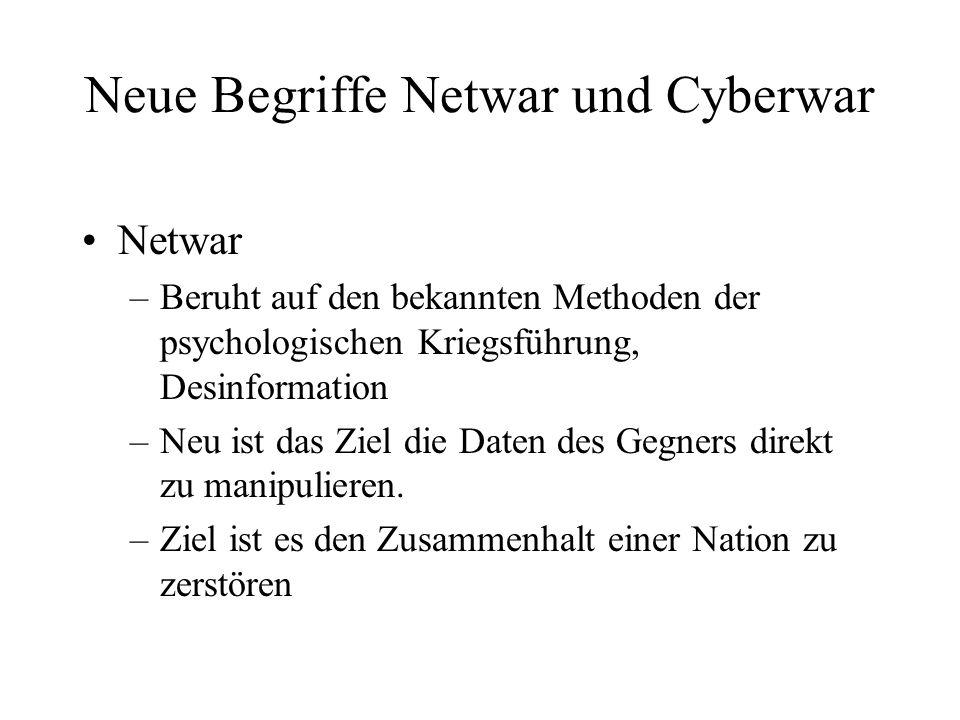 Neue Begriffe Netwar und Cyberwar Netwar –Beruht auf den bekannten Methoden der psychologischen Kriegsführung, Desinformation –Neu ist das Ziel die Daten des Gegners direkt zu manipulieren.
