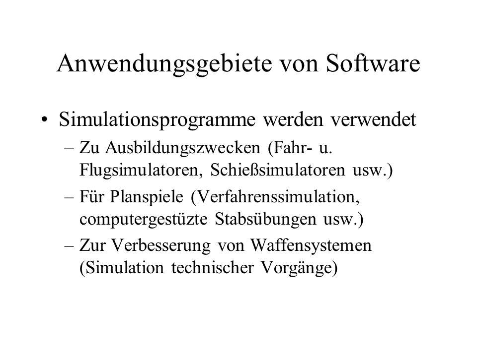 Anwendungsgebiete von Software Simulationsprogramme werden verwendet –Zu Ausbildungszwecken (Fahr- u.
