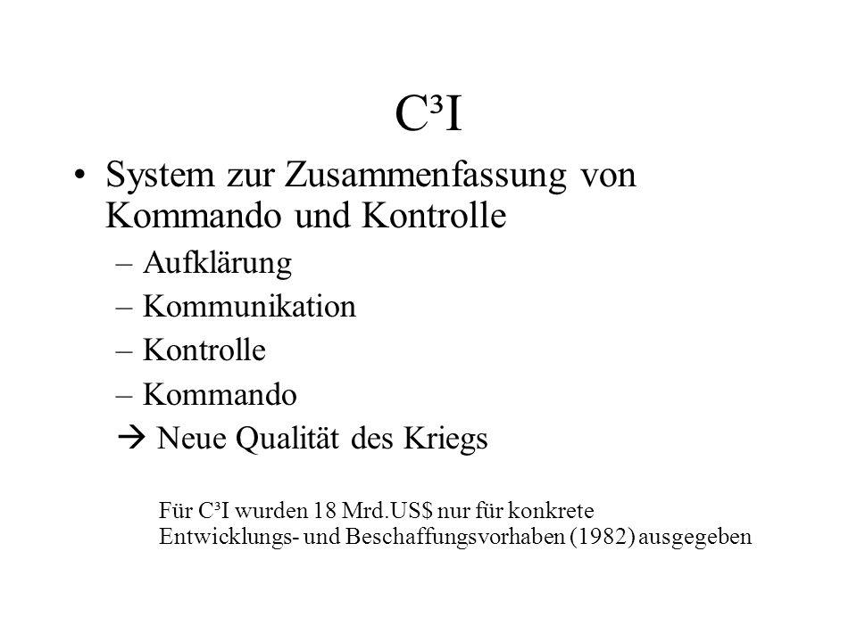 C³I System zur Zusammenfassung von Kommando und Kontrolle –Aufklärung –Kommunikation –Kontrolle –Kommando Neue Qualität des Kriegs Für C³I wurden 18 Mrd.US$ nur für konkrete Entwicklungs- und Beschaffungsvorhaben (1982) ausgegeben