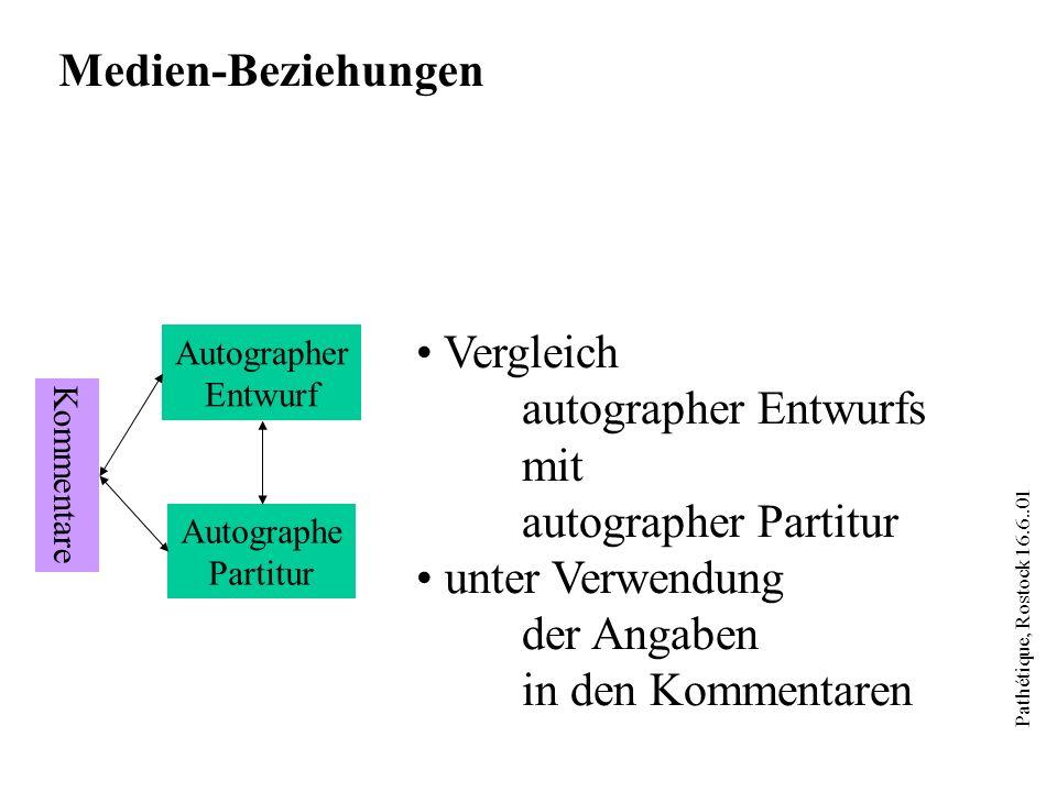 Pathétique, Rostock 16.6..01 Autographer Entwurf Autographe Partitur Kommentare Medien-Beziehungen Vergleich autographer Entwurfs mit autographer Part