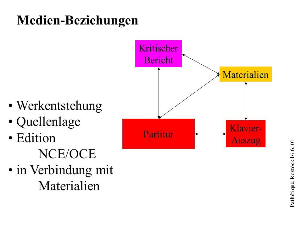 Pathétique, Rostock 16.6..01 Kritischer Bericht Partitur Klavier- Auszug Materialien Medien-Beziehungen Werkentstehung Quellenlage Edition NCE/OCE in Verbindung mit Materialien