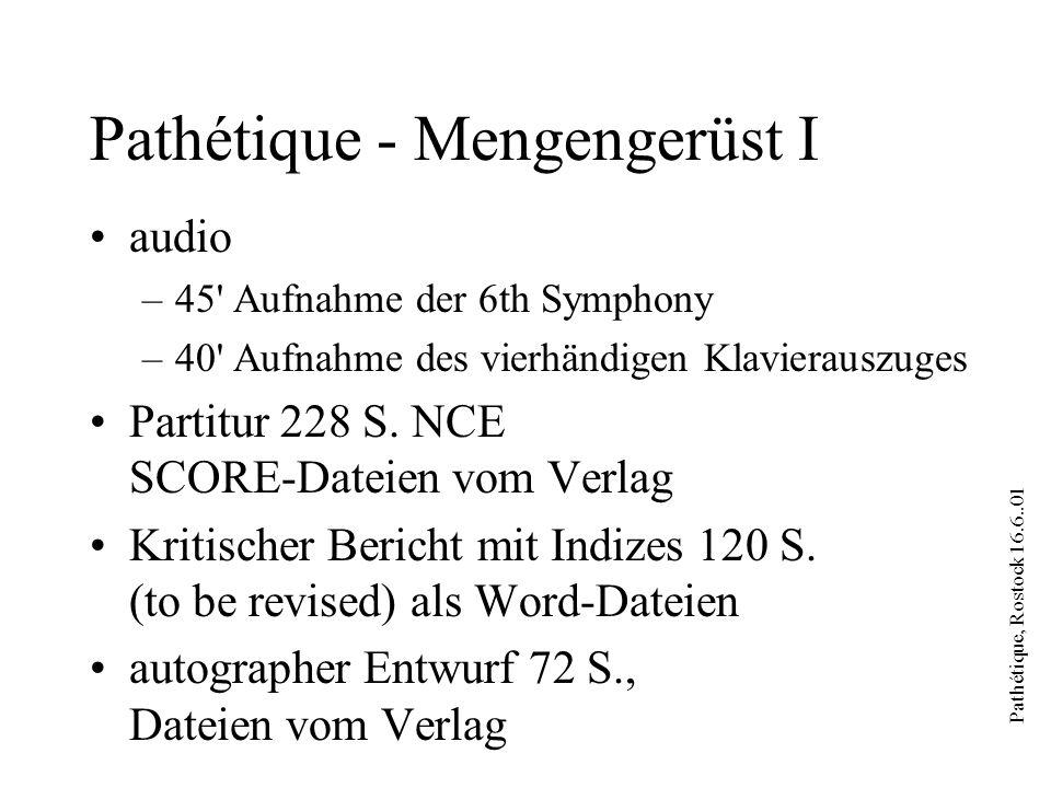 Pathétique, Rostock 16.6..01 Pathétique - Mengengerüst I audio –45 Aufnahme der 6th Symphony –40 Aufnahme des vierhändigen Klavierauszuges Partitur 228 S.