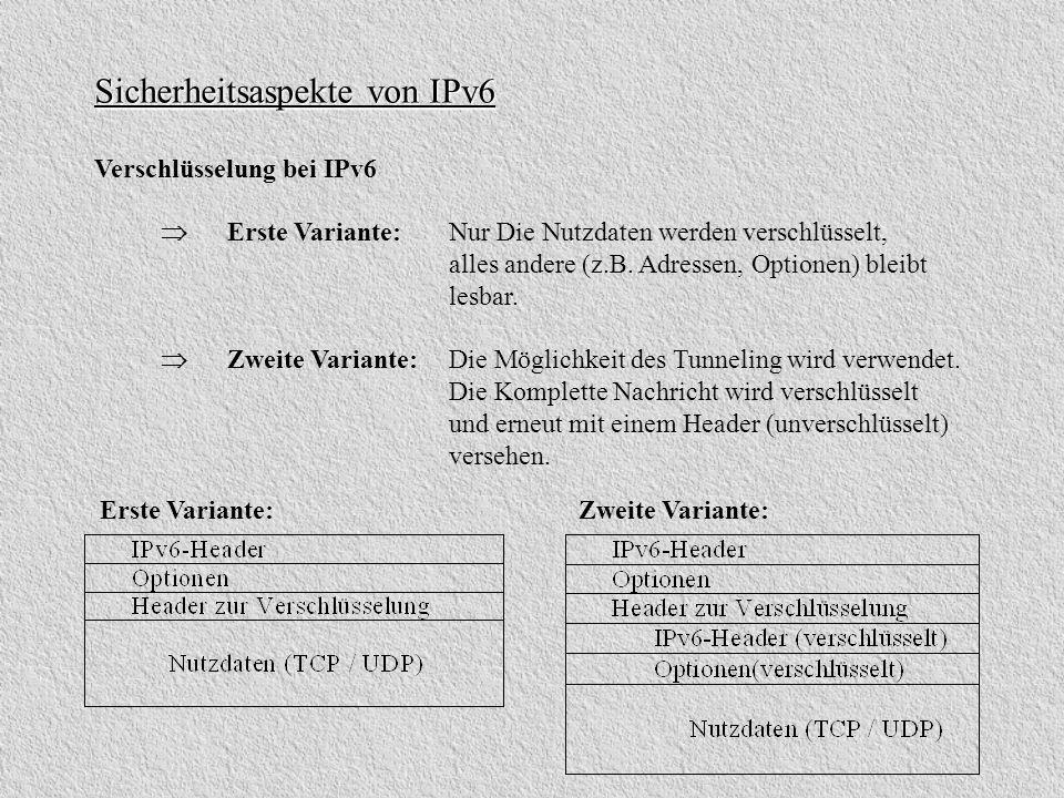 Sicherheitsaspekte von IPv6 Verschlüsselung bei IPv6 Erste Variante: Nur Die Nutzdaten werden verschlüsselt, alles andere (z.B. Adressen, Optionen) bl