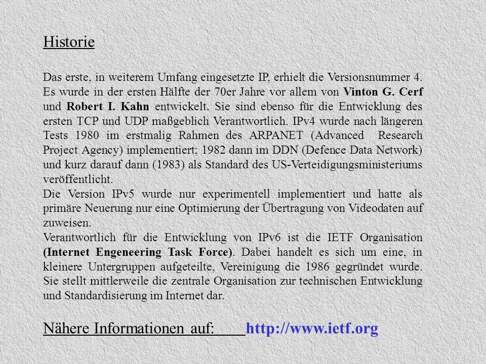 Sicherheitsaspekte von IPv6 Header zur Authentisierung Informationen direkt von URL: http:\\www.ipsec.org