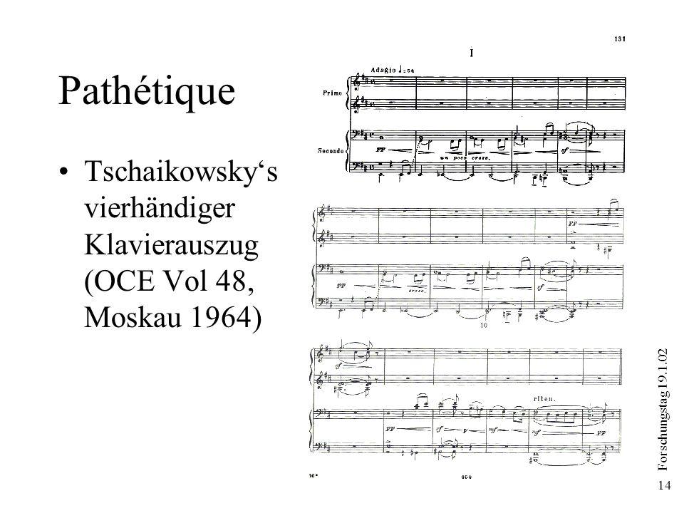 Forschungstag 19.1.02 14 Pathétique Tschaikowskys vierhändiger Klavierauszug (OCE Vol 48, Moskau 1964)